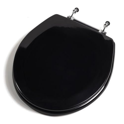 Deluxe Molded Round Wood Toilet Seat w/Chrome Hinges Black