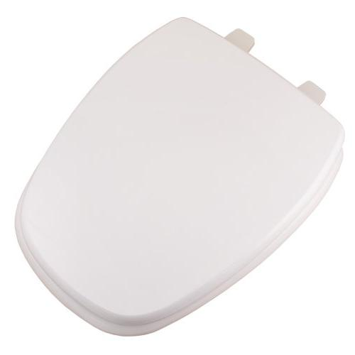 Deluxe Square Front Elongated Toilet Seat in White