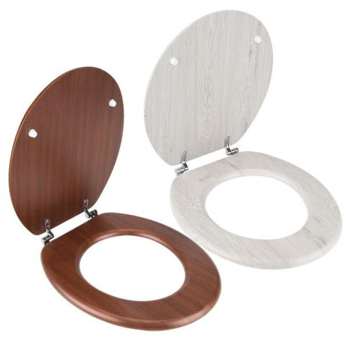 Wood Toilet off Closed Adjustable Hinges Clean