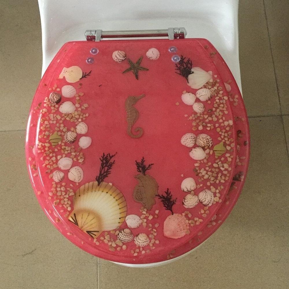 "Dolphin Aquarium Acrylic Round shaped Toilet Seat 17"" INCH"