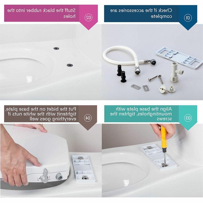 Dual Nozzle Toilet Bidet Seat, Electric, Sleek Install