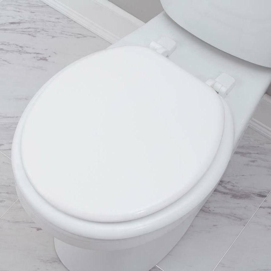 Project Source Wood Round Toilet Seat Finish Hinge