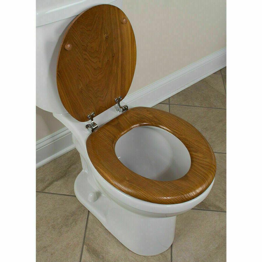 Durable Wood Round Toilet Seat Oak Veneer Finish Closed Fron