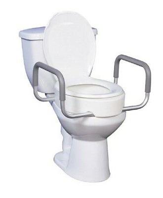 `Elevated Toilet Seat w/Arms For Elongated Toilet Seats T/F