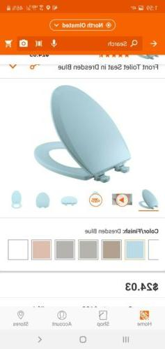 Elongated Baby Blue Toilet Seat Closed Front Easy Clean & Ch