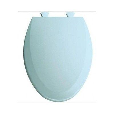 elongated baby blue toilet seat closed front