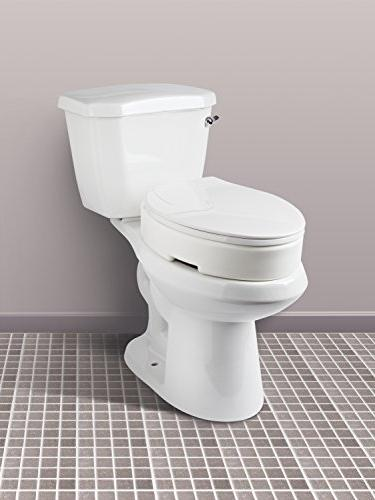 Carex Elongated Hinged Toilet Seat Riser 3.5 Inches Lift, 300 Pound Capacity Toilet Riser For Easy Cleaning