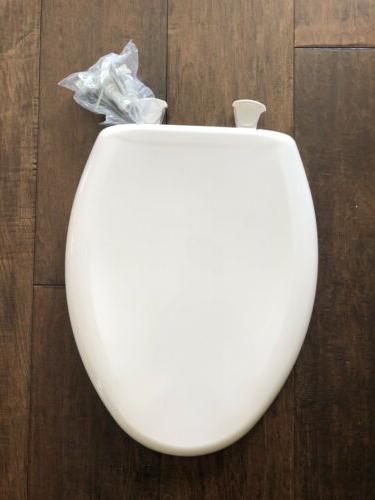 Elongated Plastic Toilet Seat with Top-Tite Hinges - Finish: