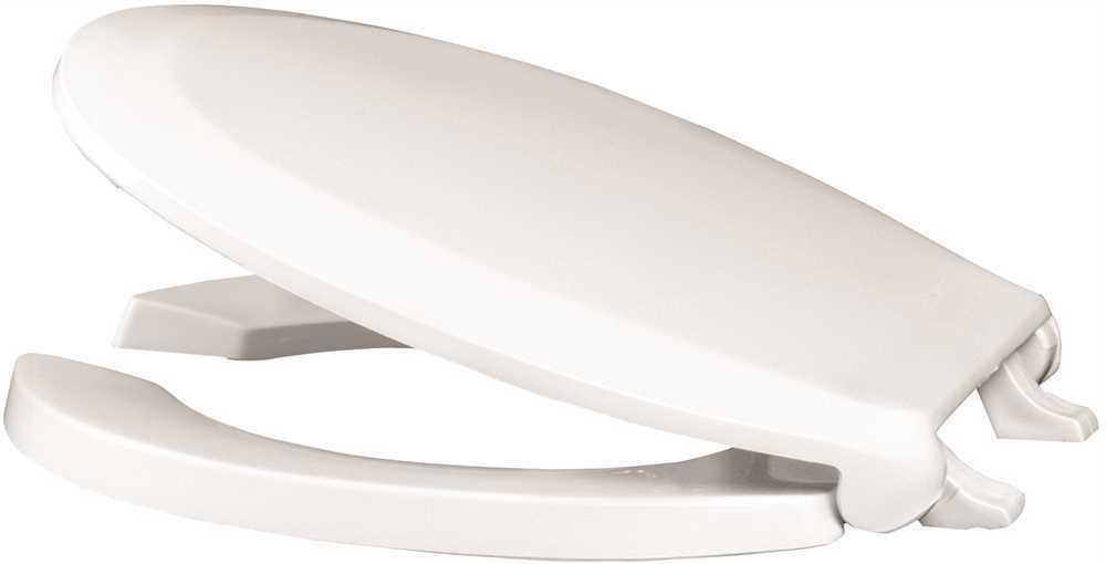 White Premier 283034 Extra Heavy Duty Commercial Round Open Front Plastic Toilet Seat with Lid and Stainless Steel