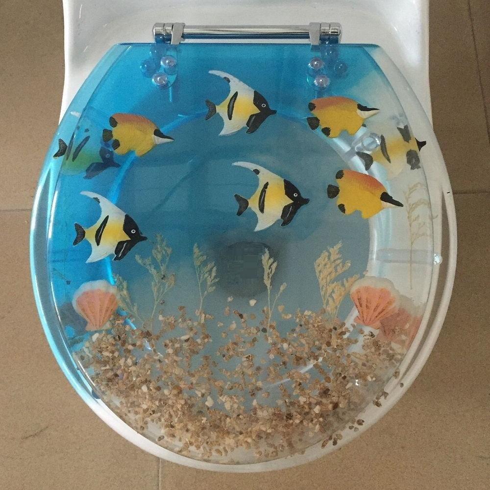 Fish Aquarium Acrylic Round shaped Toilet Seat Blue/Clear 17
