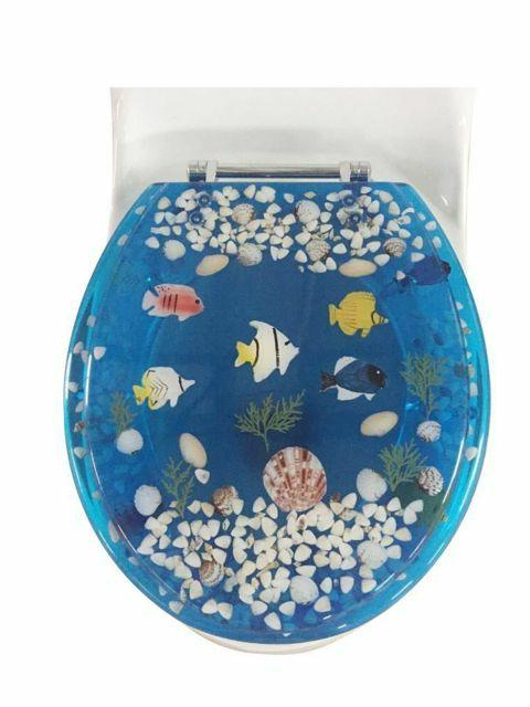 "Fish Aquarium Acrylic Round shaped Toilet Seat Blue 17"" INCH"