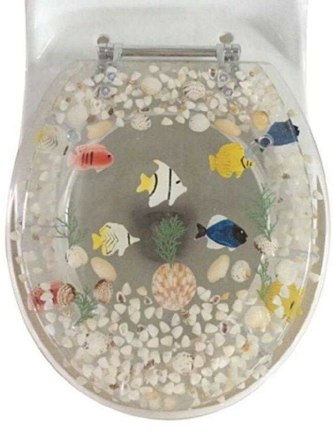 "Fish Aquarium Acrylic Round shaped Toilet Seat Clear 17"" INC"