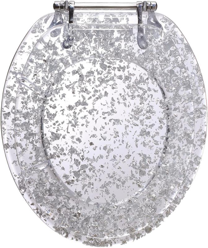 Ginsey  Elongated Resin Toilet Seat Chrome Hinges, Silver Fo