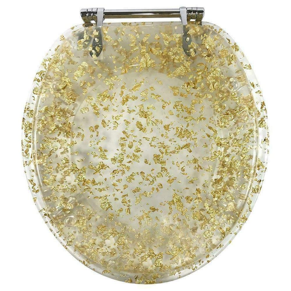 Ginsey Standard Resin Toilet Seat With Chrome Hinges Gold