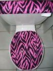 HOT PINK ZEBRA ..Stripes Fabric - Elongated Toilet Seat Lid