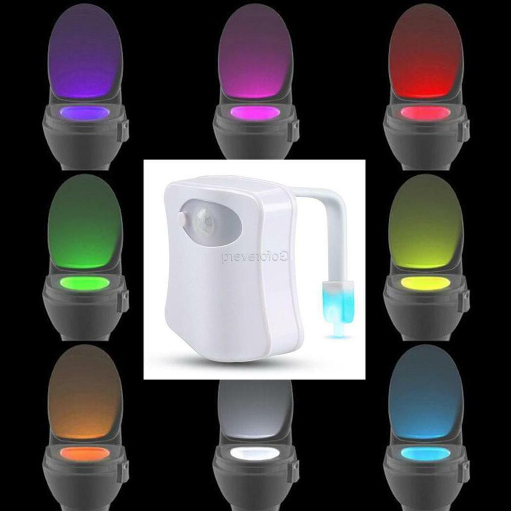 LED 8Color Change Toilet Bathroom Night Light PIR Motion Act