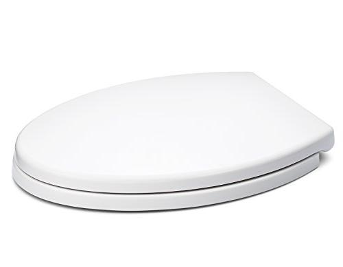 Bath Elongated Toilet Seat Cover, White, Slow-Close, for Easy