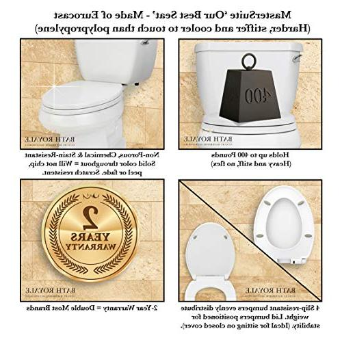 Bath Royale Toilet Seat with White, Quick-Release Easy Cleaning.