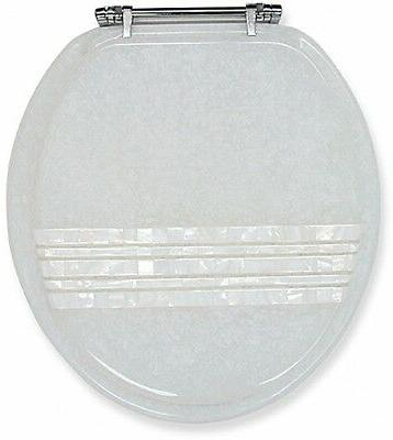 New Ginsey Mother of Pearl Banded Lid Standard Resin Toilet