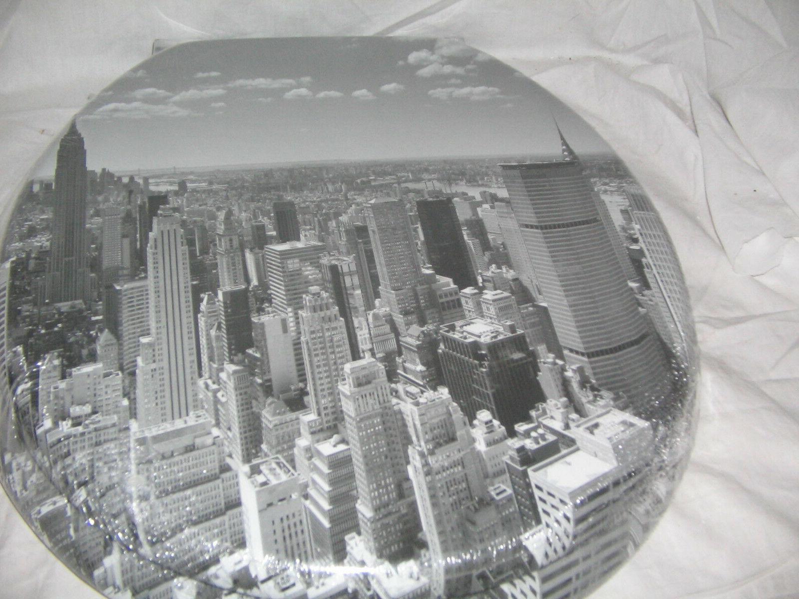 new york city skyline elongated slow close