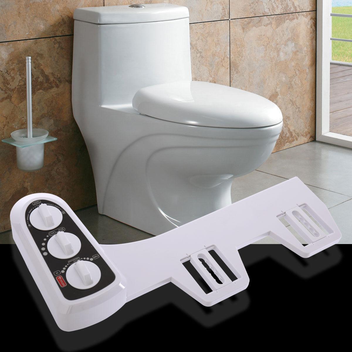 Non-Electric Mechanical Bidet Toilet Seat Attachment Nozzle