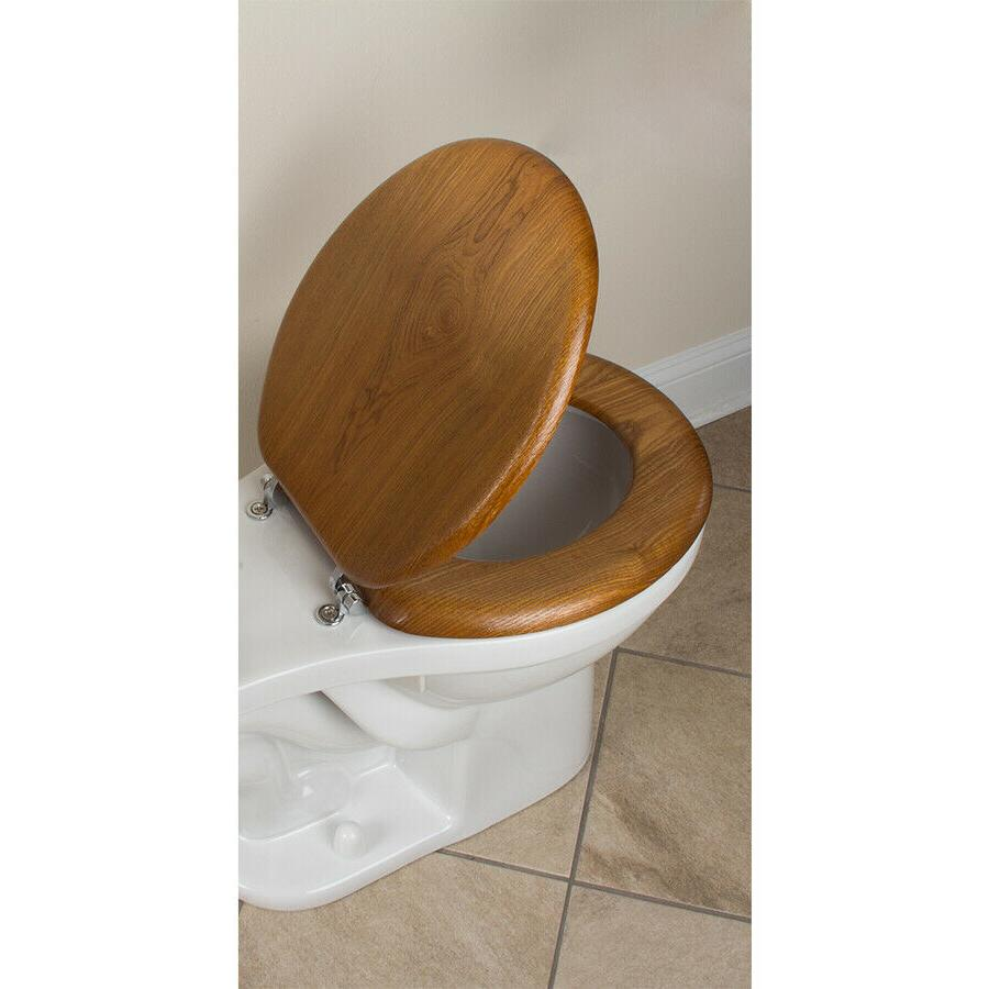 AquaSource Durable Standard Metal Wood Round Toilet