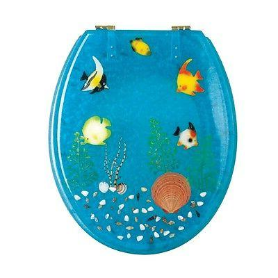 Polyresin Toilet Seat Ocean Floor Standard Round Brass Renov
