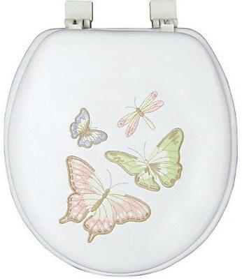Toilet Seat Round Closed Front Shimmer Butterfly Embroidered