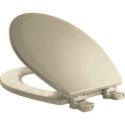 Almond Bemis 500EC 146 Wood Round Toilet Seat With Easy Clean /& Change Hinge