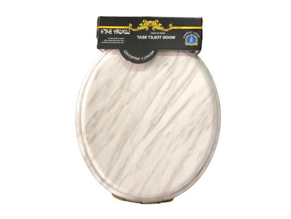 Round Marble Toilet Closed Front Lid