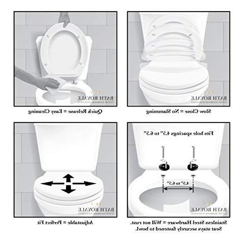 Bath Elongated Toilet with Cover, White, Quick-Release for Easy Cleaning. Elongated
