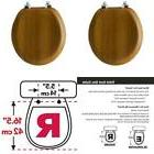 Round Toilet Seat Wood Covers With Metal Hinges For Bathroom