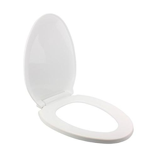 """No Toilet Seat Easy Elongated Comfortable Ergonomic Design Slow Lid System Quiet Durable Plastic Staining Cracking Easy Install Lid 3/16"""" L X 13-3/4"""" W Adjustable Hinge 6-1/2"""""""