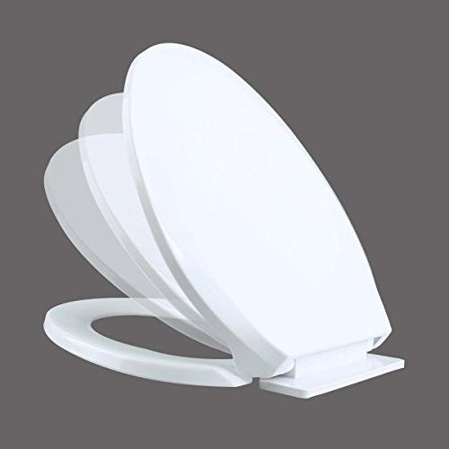 """No Easy Elongated Slow Quiet Durable Plastic Cracking Easy Clean Install Lid Length 17 3/16"""" X W Hole To 6-1/2"""""""
