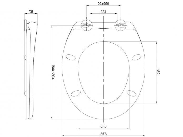 American Standard Porcher Soft Close Toilet Seat 445x376mm