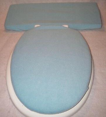 solid light blue fleece elongated toilet seat