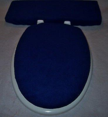solid navy blue fleece elongated toilet seat