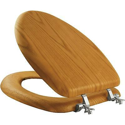 Solid Wood Toilet Seat Oak Elongated Wooden Finish Chrome Hi