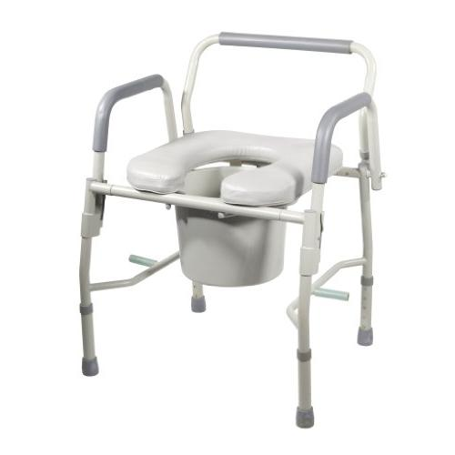 Drive Medical Steel Drop Arm Bedside Commode with Padded Sea