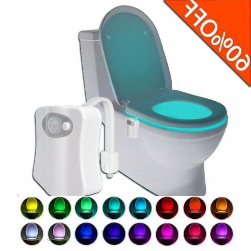 toilet night light 8 color led motion