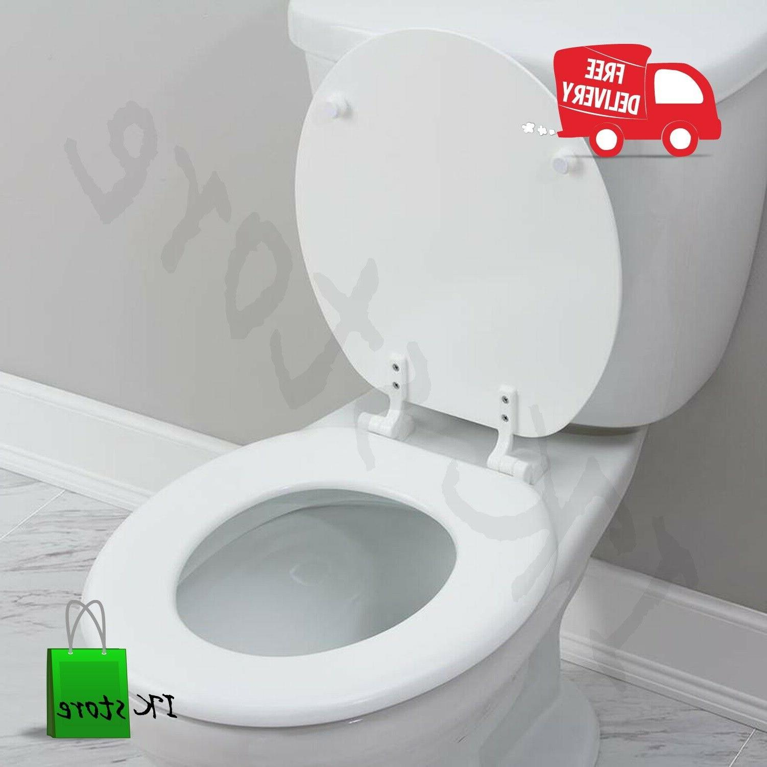 Toilet Seat Durable White Wood High-Gloss Finish Round 17.32