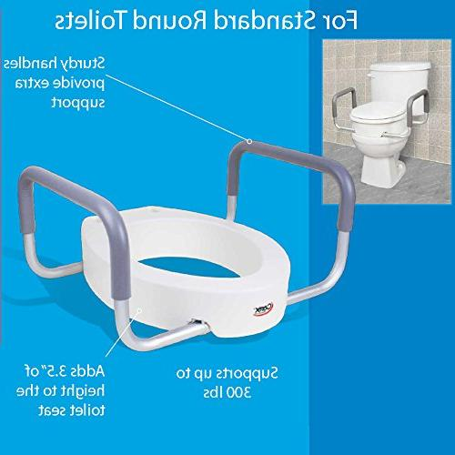 Carex Raised With For Standard Round Adds Toilet Height Toilet Seat and Seniors