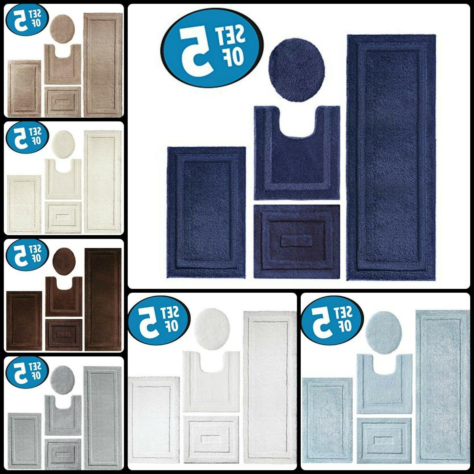Toilet Seat Lid Cover Bathroom Mat Combo Pack Bath Rug Set O