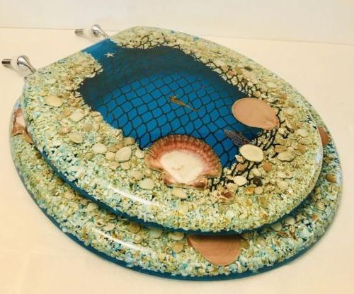 Toilet Seat Nautical Sea Horse Shells Ocean NET Standard Rou