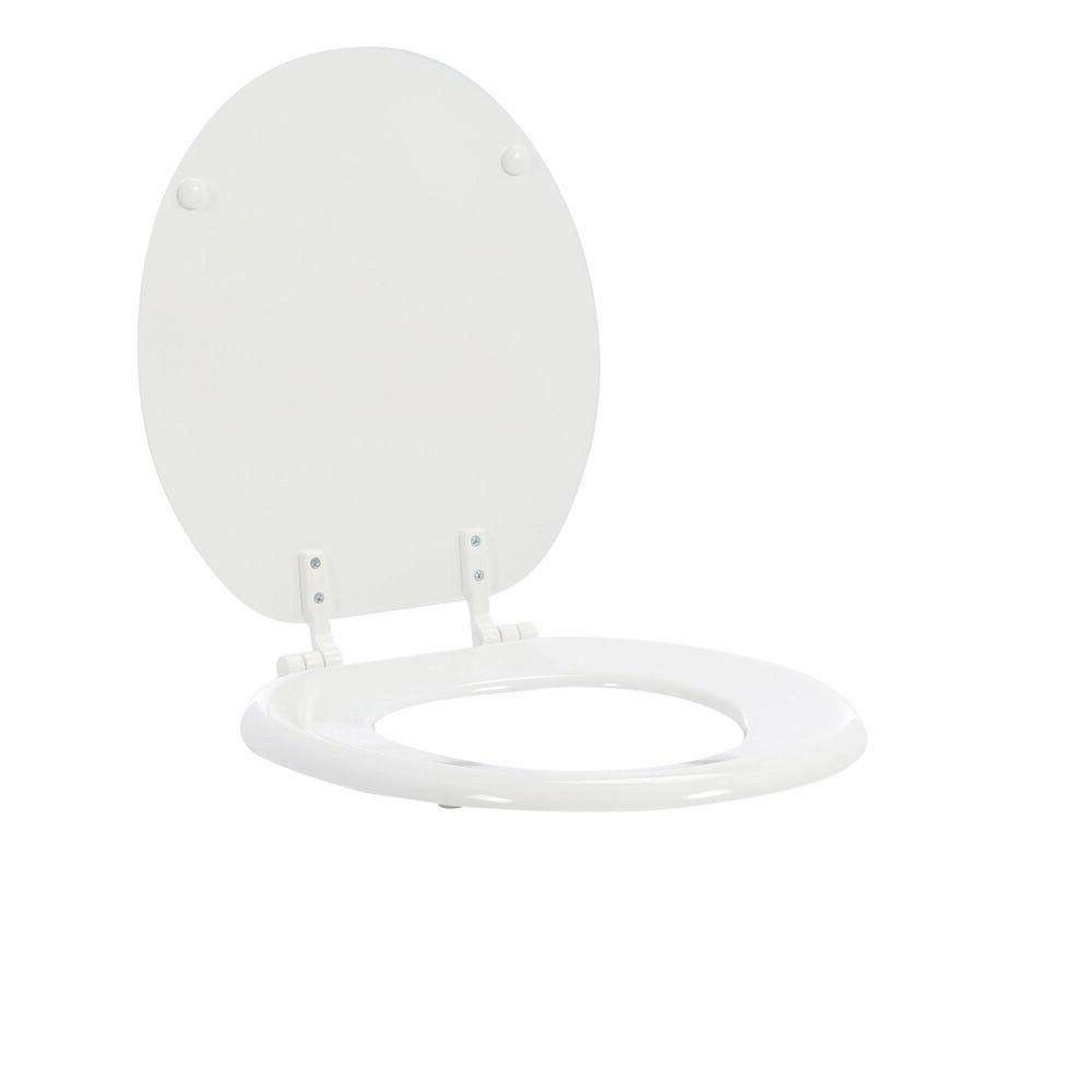 TOILET Round White Front Standard Wood Seat