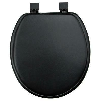 toilet seat round black soft vinyl padded