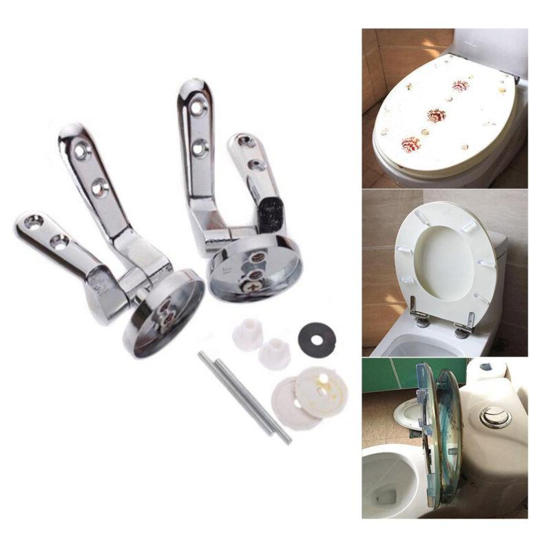 Replacement Toilet Seat Hinge Mounting Set Chrome Hinges + F