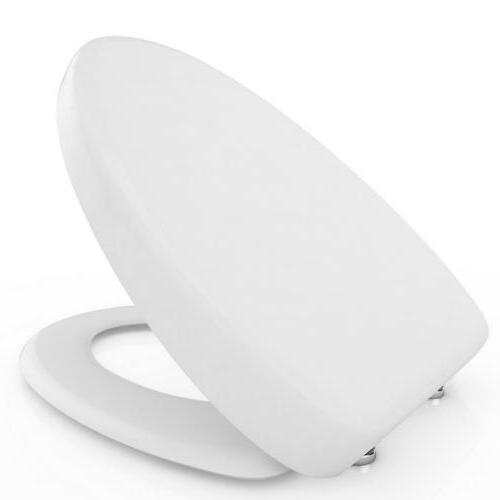 Elongated Front Toilet Seat with Cover Soft Close Quick Rele