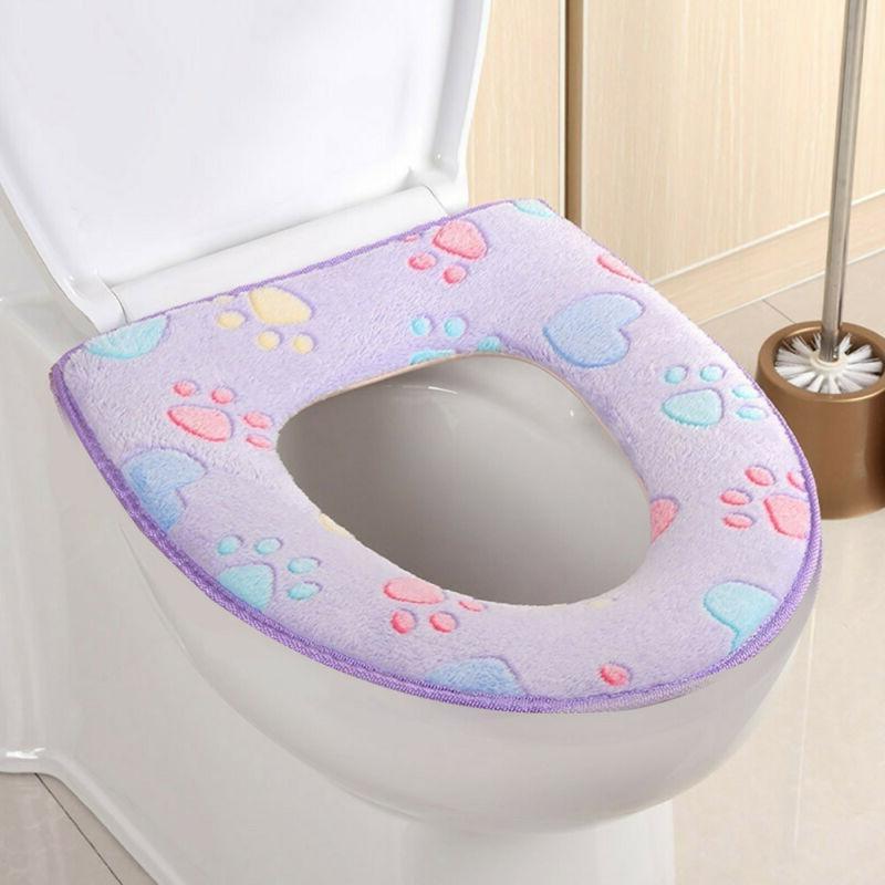 Bathroom Warmer Toilet Mat Seat Pad Cloth Soft Closestool Lid Cover