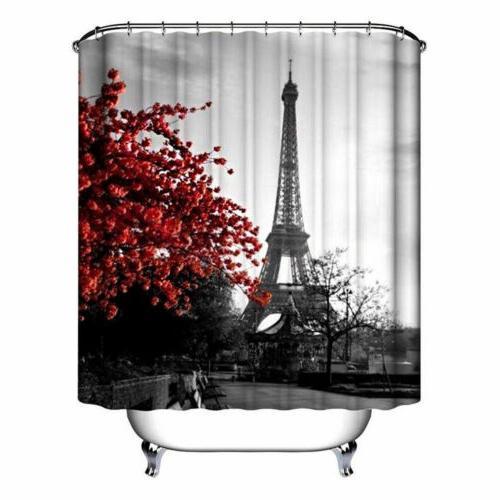 Waterproof Bathroom Shower Curtain 4PCS Bathroom Mat Set Seat